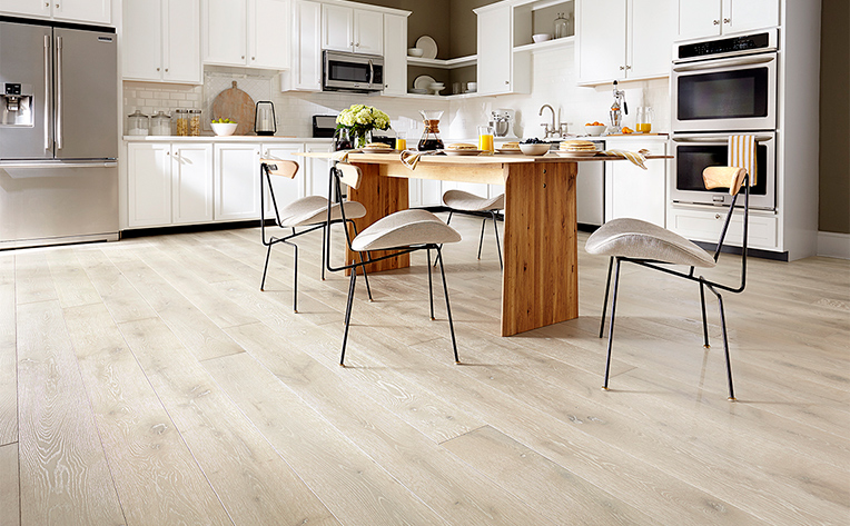White Hardwood Flooring Kitchen Example